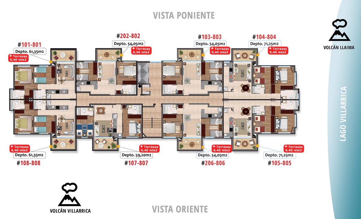 Condominio Altos de Villarrica. 64 departamentos en venta. inversión inmobiliaria